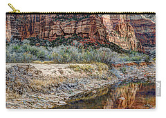 Zions National Park Angels Landing - Digital Painting Carry-all Pouch by Gary Whitton