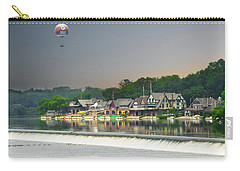 Carry-all Pouch featuring the photograph Zoo Balloon Flying Over Boathouse Row by Bill Cannon