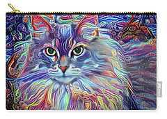 Colorful Long Haired Cat Art Carry-all Pouch