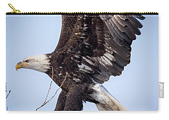 Carry-all Pouch featuring the photograph Eagle Coming In For A Landing by Ricky L Jones