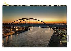 Carry-all Pouch featuring the photograph Hoan Bridge At Dusk by Randy Scherkenbach