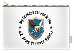 U. S.  Army Security Agency -  A S A  Patch Over White Leather Carry-all Pouch
