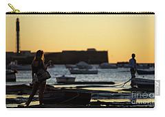 Carry-all Pouch featuring the photograph Woman At Sunset La Caleta Beach Cadiz Spain by Pablo Avanzini