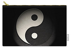 Carry-all Pouch featuring the photograph Yin Yang Symbol Leather Texture by Brian Carson