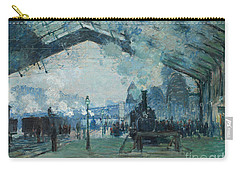 Carry-all Pouch featuring the digital art Arrival Of The Normandy Train, Gare Saint-lazare by Claude Monet