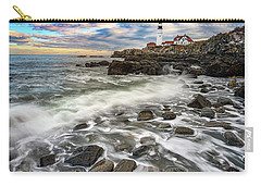 Carry-all Pouch featuring the photograph Rising Tide At Portland Head by Rick Berk