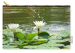 2 White Water Lilies Carry-all Pouch