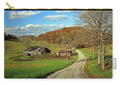 Carry-all Pouch featuring the photograph A Farm On An Autumn Day by Angela Murdock