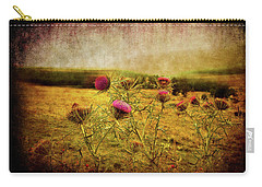 Carry-all Pouch featuring the photograph A Field Covered With Mist by Milena Ilieva