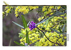 Carry-all Pouch featuring the photograph A Little Bit Of Purple Coral Pea by Elaine Teague