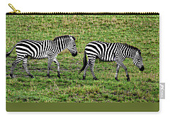 Carry-all Pouch featuring the photograph A Pair Of Zebras by Kay Brewer
