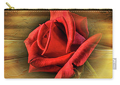 A Red Rose On Gold Carry-all Pouch