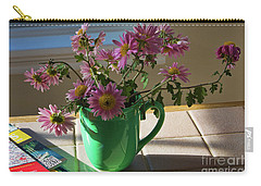 Carry-all Pouch featuring the photograph A Traveler Still Life With Autumn Flowers by Tatiana Travelways