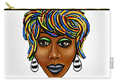 Carry-all Pouch featuring the painting Abstract Glo - Black Woman Retro Pop Art - Ai P. Nilson by Ai P Nilson