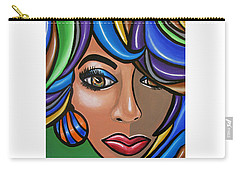 Carry-all Pouch featuring the painting Abstract Mama - Abstract Female Painting - Colorful Hair Art - Ai P. Nilson by Ai P Nilson