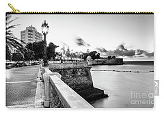 Carry-all Pouch featuring the photograph Alameda Apodaca Promenade Cadiz Spain Black And White by Pablo Avanzini