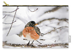 American Robin In The Snow Carry-all Pouch