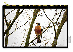 American Robin Perching In A Wintertime Tree Carry-all Pouch