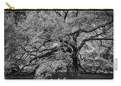 Carry-all Pouch featuring the photograph Angel Oak Tree Black And White by Rick Berk