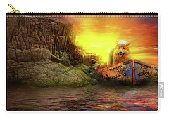 Carry-all Pouch featuring the photograph Animal - Dog - Up The Creek Without A Pawdle by Mike Savad