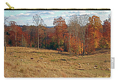 Carry-all Pouch featuring the photograph Animals Grazing On A Fall Day by Angela Murdock
