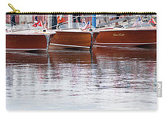 Carry-all Pouch featuring the photograph Antique Classic Wooden Boats In A Row Panorama 81112p by Rick Veldman