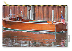 Carry-all Pouch featuring the photograph Antique Wooden Boat By Dock 1302 by Rick Veldman