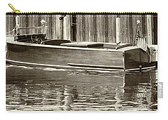Carry-all Pouch featuring the photograph Antique Wooden Boat By Dock Sepia Tone 1302tn by Rick Veldman