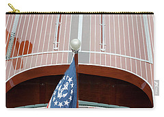Carry-all Pouch featuring the photograph Antique Wooden Boat With Flag 1303 by Rick Veldman