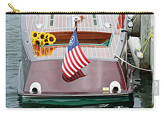 Carry-all Pouch featuring the photograph Antique Wooden Boat With Flag And Flowers 1304 by Rick Veldman