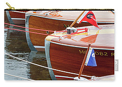 Carry-all Pouch featuring the photograph Antique Wooden Boats In A Row Portrait 1301 by Rick Veldman
