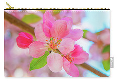 Apple Blossoms Red And Blue Carry-all Pouch