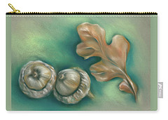 Carry-all Pouch featuring the pastel Autumn Oak Leaf And Acorns by MM Anderson