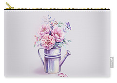 Carry-all Pouch featuring the painting Pink Peonies Blooming Watercolour by Georgeta Blanaru
