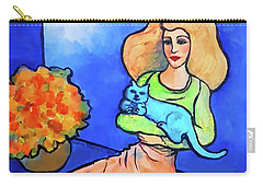 Lady With Blue Cat Carry-all Pouch