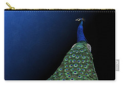 Carry-all Pouch featuring the photograph Dressed To Party - Male Peacock by Debi Dalio
