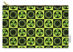 Carry-all Pouch featuring the digital art Green Shamrocks Circles And Squares by MM Anderson