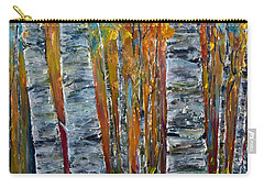 Carry-all Pouch featuring the photograph Aspen Trees By Olena Art by OLena Art