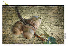 Carry-all Pouch featuring the mixed media Autumn Acorns On Vintage Postcard Digital Art by Debi Dalio