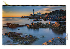 Carry-all Pouch featuring the photograph Autumn Morning At Portland Head Lighthouse  by Rick Berk