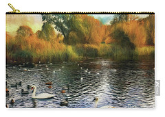 Carry-all Pouch featuring the photograph Autumn On The Lake by Leigh Kemp