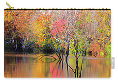 Carry-all Pouch featuring the photograph Autumn Reflections At Alum Creek by Angela Murdock