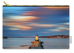 Carry-all Pouch featuring the photograph Autumn Skies At Spring Point Ledge Lighthouse by Rick Berk