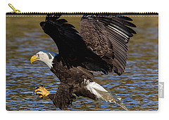 Carry-all Pouch featuring the photograph Bald Eagle Fishing On The James River by Lori Coleman