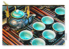 Bamboo Handle Teapot And Cups Carry-all Pouch