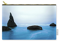 Carry-all Pouch featuring the photograph Bandon By The Sea Aqua Blue by Rospotte Photography