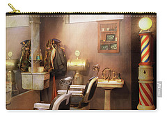 Carry-all Pouch featuring the photograph Barber - Basement Barber by Mike Savad
