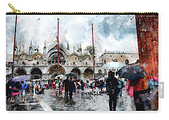 Basilica Of Saint Mark In Venice With Watercolor Look Carry-all Pouch