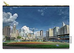 Carry-all Pouch featuring the photograph Bbt Baseball Charlotte Nc Knights Baseball Stadium And City Skyl by Alex Grichenko
