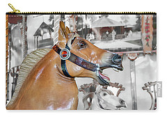 Carry-all Pouch featuring the photograph Bear Mountain Carousel - Fjord Horse by Kristia Adams